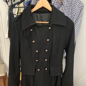 Black Long Wool Coat Size M fit under 150 pounds